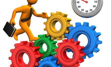 Businessman Gears Stopwatch